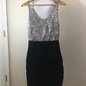 Express Gray Sequin & Black Bandage Dress. XS